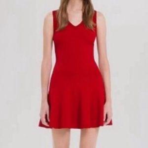 Sandro Drop Waist V Neck Sleeveless Red Knit Dress